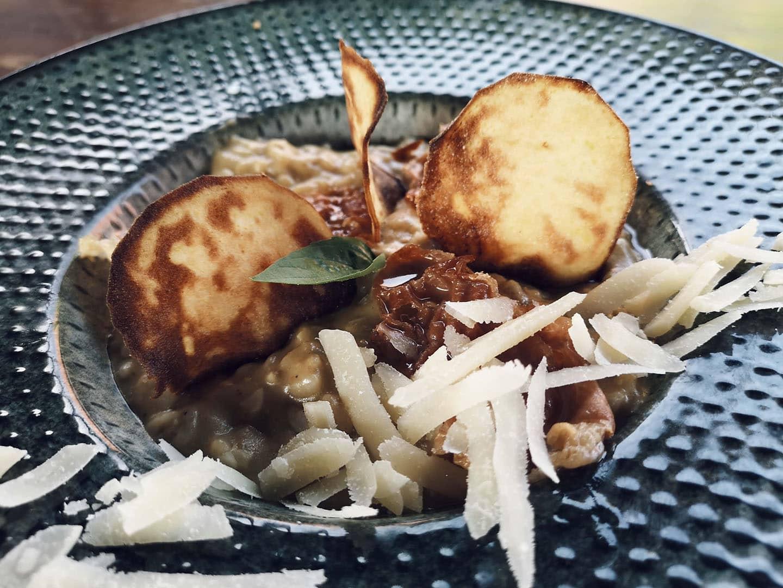 rižoto s patlidžanom i dobro pršutom
